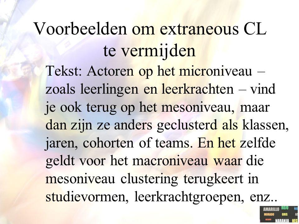 Voorbeelden om extraneous CL te vermijden Tekst: Actoren op het microniveau – zoals leerlingen en leerkrachten – vind je ook terug op het mesoniveau,