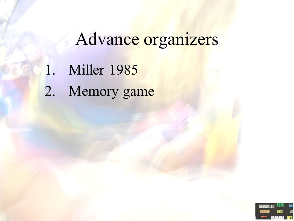 Advance organizers 1.Miller 1985 2.Memory game