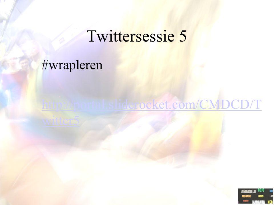 Twittersessie 5 #wrapleren http://portal.sliderocket.com/CMDCD/T witter5