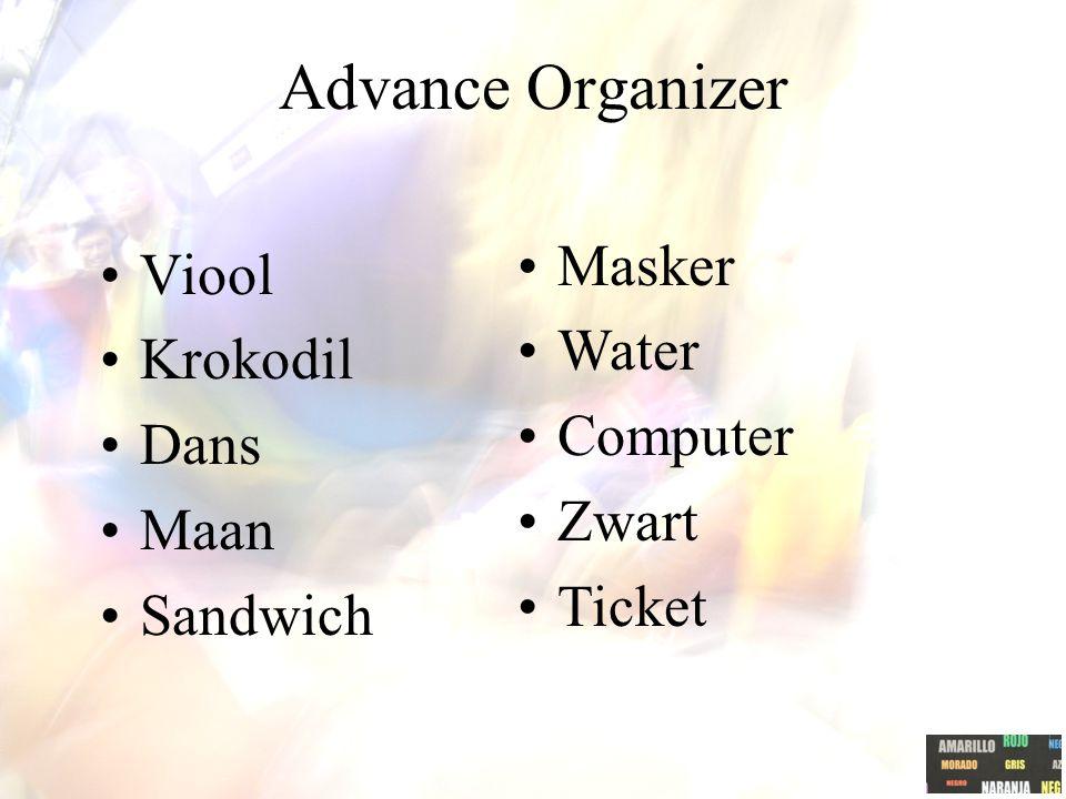 Advance Organizer Viool Krokodil Dans Maan Sandwich Masker Water Computer Zwart Ticket