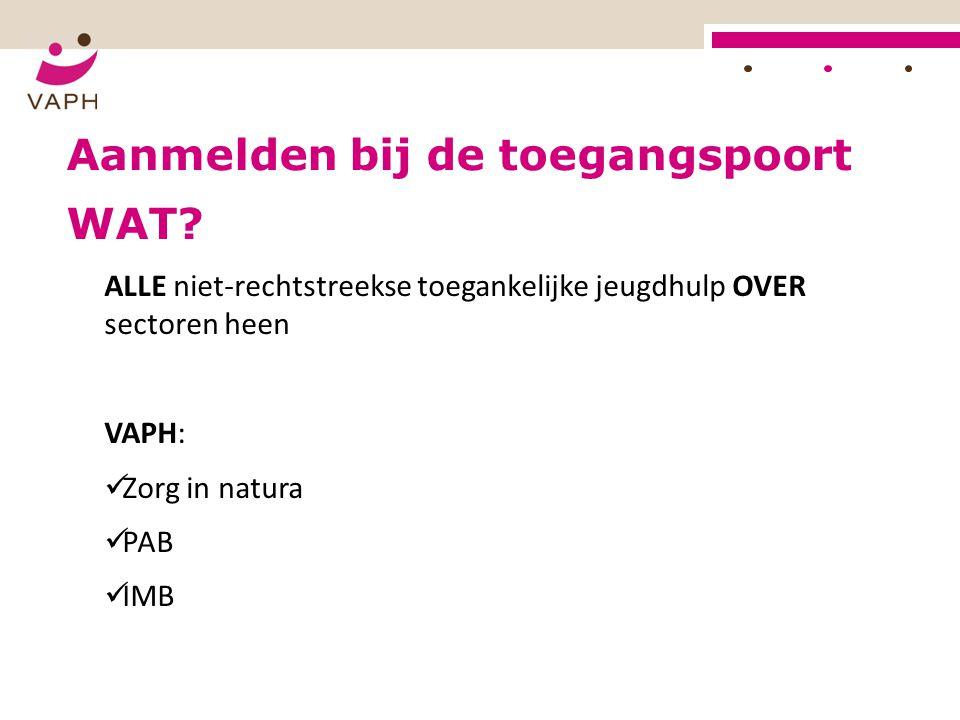 Aanmelden bij de toegangspoort ALLE niet-rechtstreekse toegankelijke jeugdhulp OVER sectoren heen VAPH: Zorg in natura PAB IMB WAT?