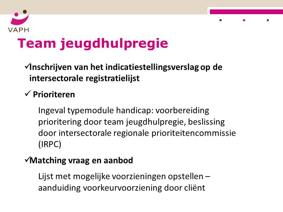 Inschrijven van het indicatiestellingsverslag op de intersectorale registratielijst Prioriteren Ingeval typemodule handicap: voorbereiding prioriterin