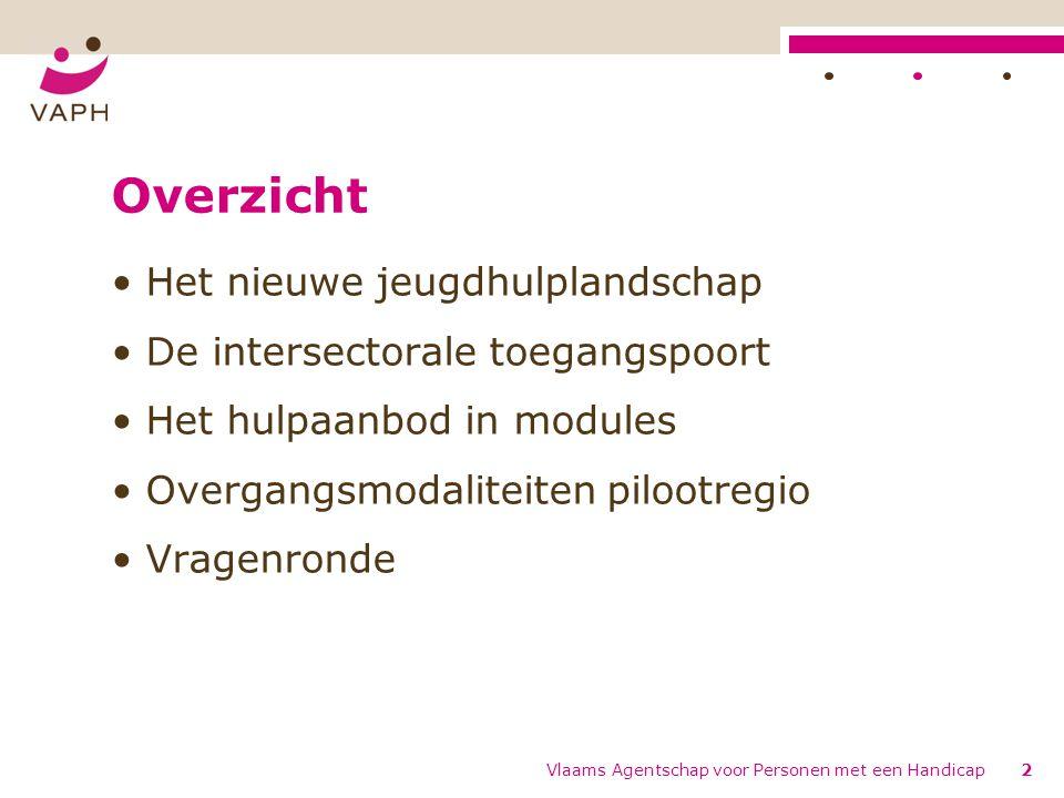 Overzicht Het nieuwe jeugdhulplandschap De intersectorale toegangspoort Het hulpaanbod in modules Overgangsmodaliteiten pilootregio Vragenronde Vlaams