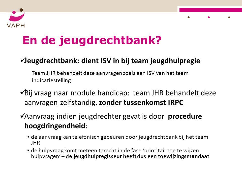 En de jeugdrechtbank? Jeugdrechtbank: dient ISV in bij team jeugdhulpregie Team JHR behandelt deze aanvragen zoals een ISV van het team indicatiestell
