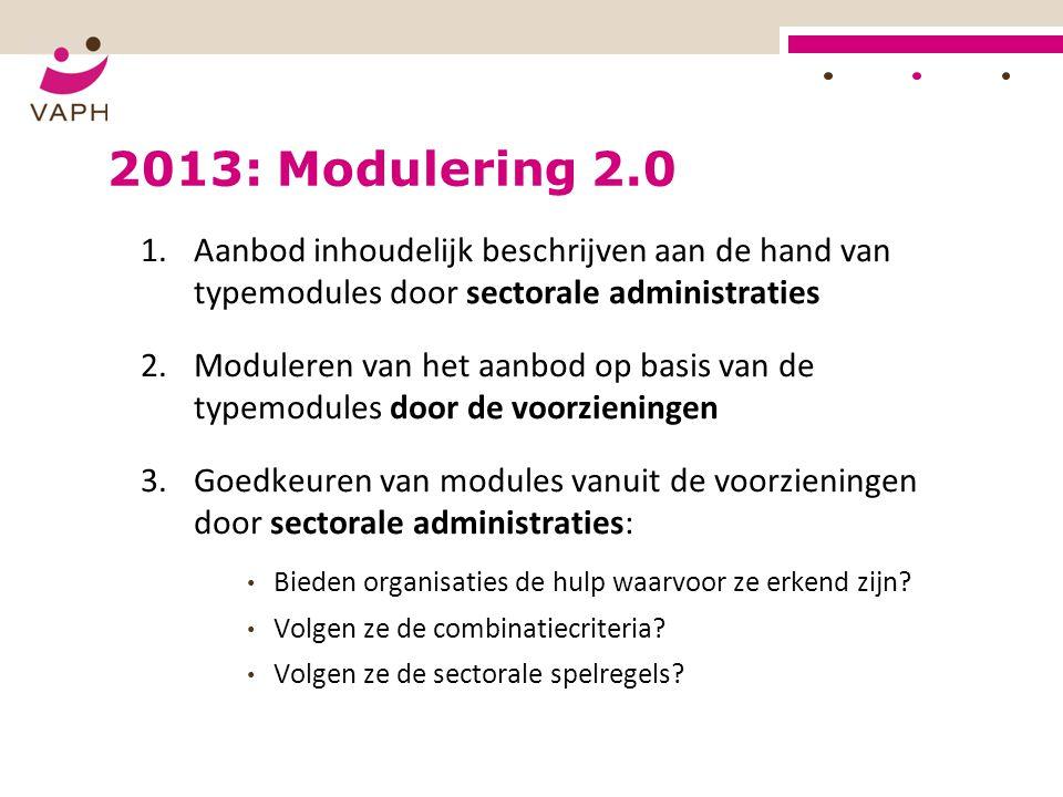 2013: Modulering 2.0 1.Aanbod inhoudelijk beschrijven aan de hand van typemodules door sectorale administraties 2.Moduleren van het aanbod op basis va
