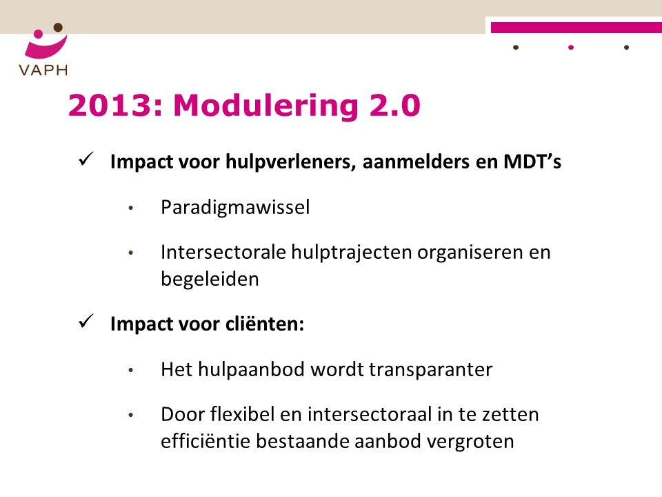 2013: Modulering 2.0 Impact voor hulpverleners, aanmelders en MDT's Paradigmawissel Intersectorale hulptrajecten organiseren en begeleiden Impact voor