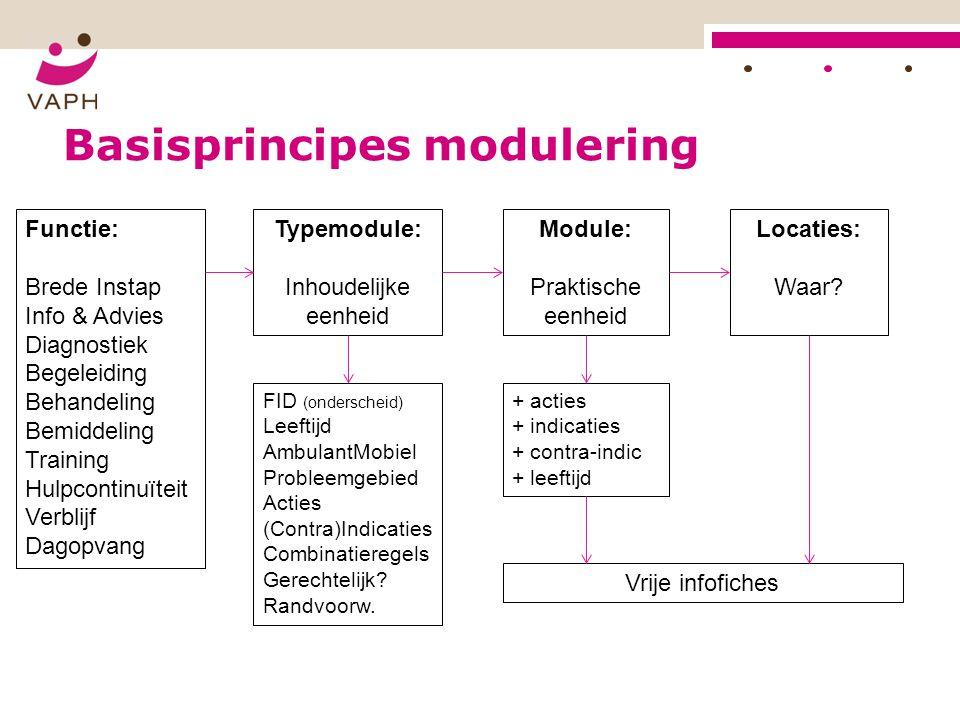 Basisprincipes modulering Functie: Brede Instap Info & Advies Diagnostiek Begeleiding Behandeling Bemiddeling Training Hulpcontinuïteit Verblijf Dagop