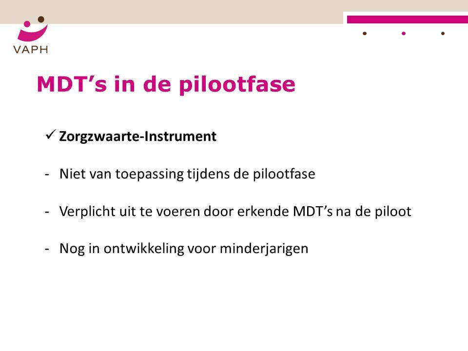 MDT's in de pilootfase Zorgzwaarte-Instrument -Niet van toepassing tijdens de pilootfase -Verplicht uit te voeren door erkende MDT's na de piloot -Nog