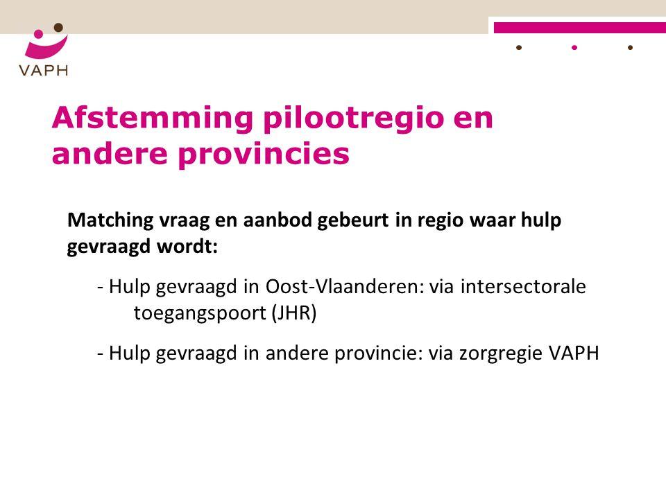 Afstemming pilootregio en andere provincies Matching vraag en aanbod gebeurt in regio waar hulp gevraagd wordt: - Hulp gevraagd in Oost-Vlaanderen: vi