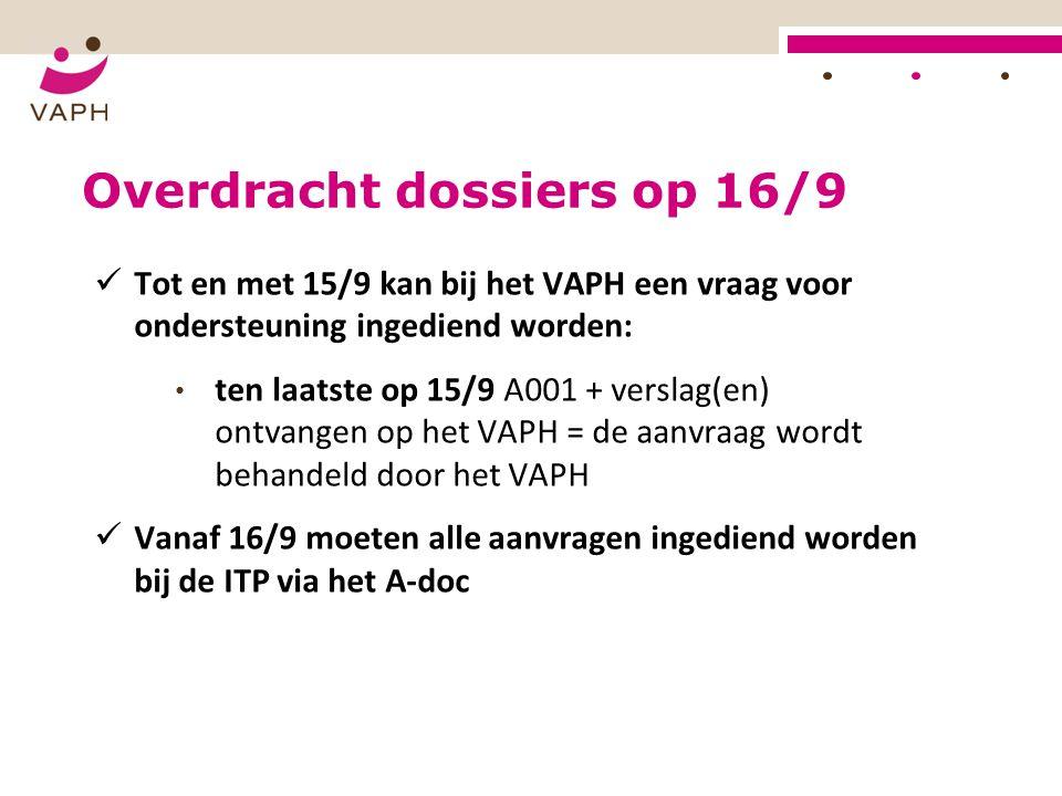 Overdracht dossiers op 16/9 Tot en met 15/9 kan bij het VAPH een vraag voor ondersteuning ingediend worden: ten laatste op 15/9 A001 + verslag(en) ont
