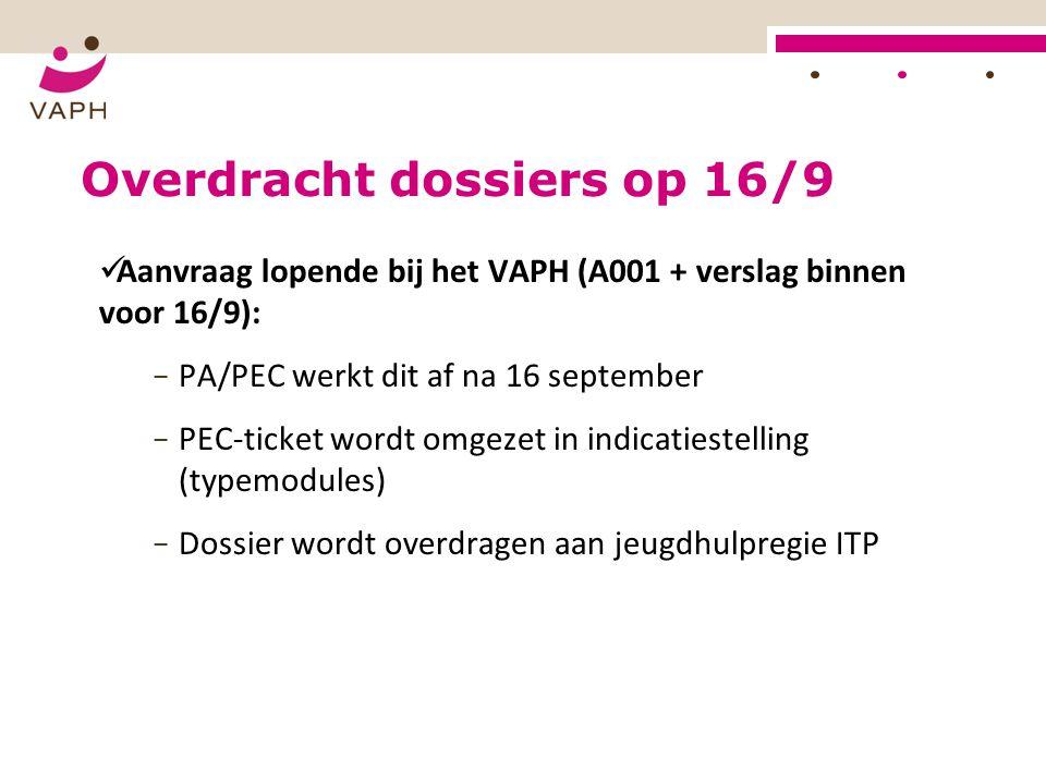 Overdracht dossiers op 16/9 Aanvraag lopende bij het VAPH (A001 + verslag binnen voor 16/9): − PA/PEC werkt dit af na 16 september − PEC-ticket wordt