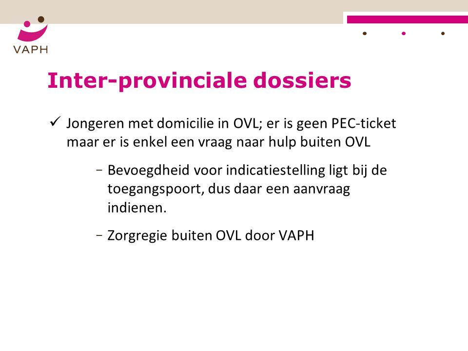 Inter-provinciale dossiers Jongeren met domicilie in OVL; er is geen PEC-ticket maar er is enkel een vraag naar hulp buiten OVL − Bevoegdheid voor ind