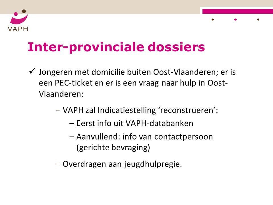Inter-provinciale dossiers Jongeren met domicilie buiten Oost-Vlaanderen; er is een PEC-ticket en er is een vraag naar hulp in Oost- Vlaanderen: − VAP