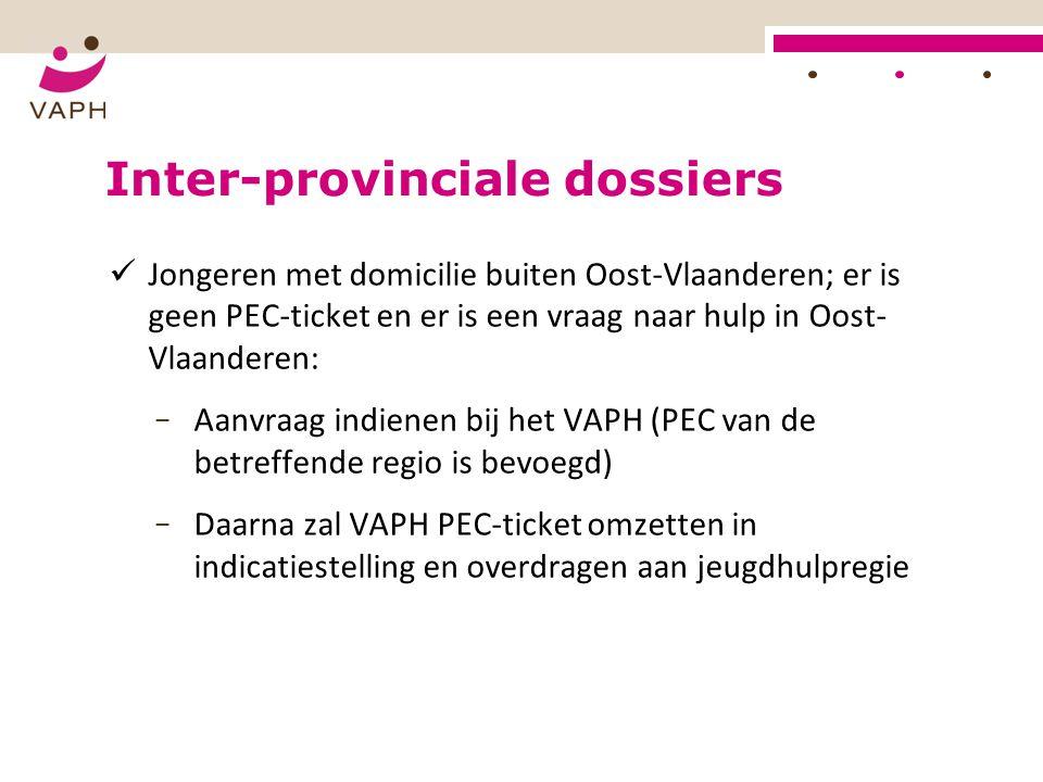 Inter-provinciale dossiers Jongeren met domicilie buiten Oost-Vlaanderen; er is geen PEC-ticket en er is een vraag naar hulp in Oost- Vlaanderen: − Aa