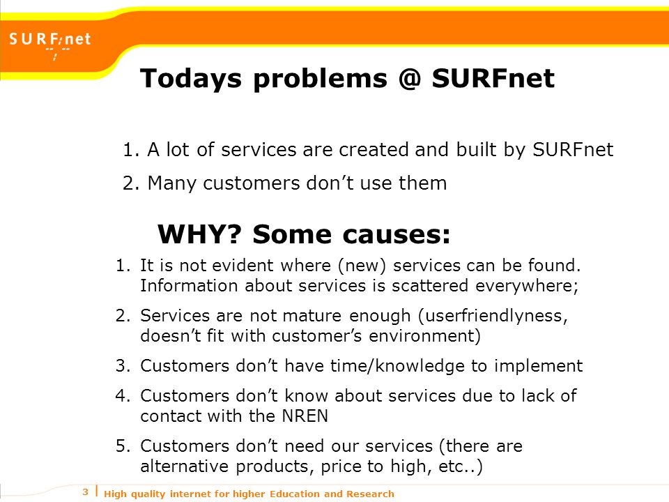 High quality internet for higher Education and Research 3 Todays problems @ SURFnet 1.A lot of services are created and built by SURFnet 2.Many customers don't use them WHY.