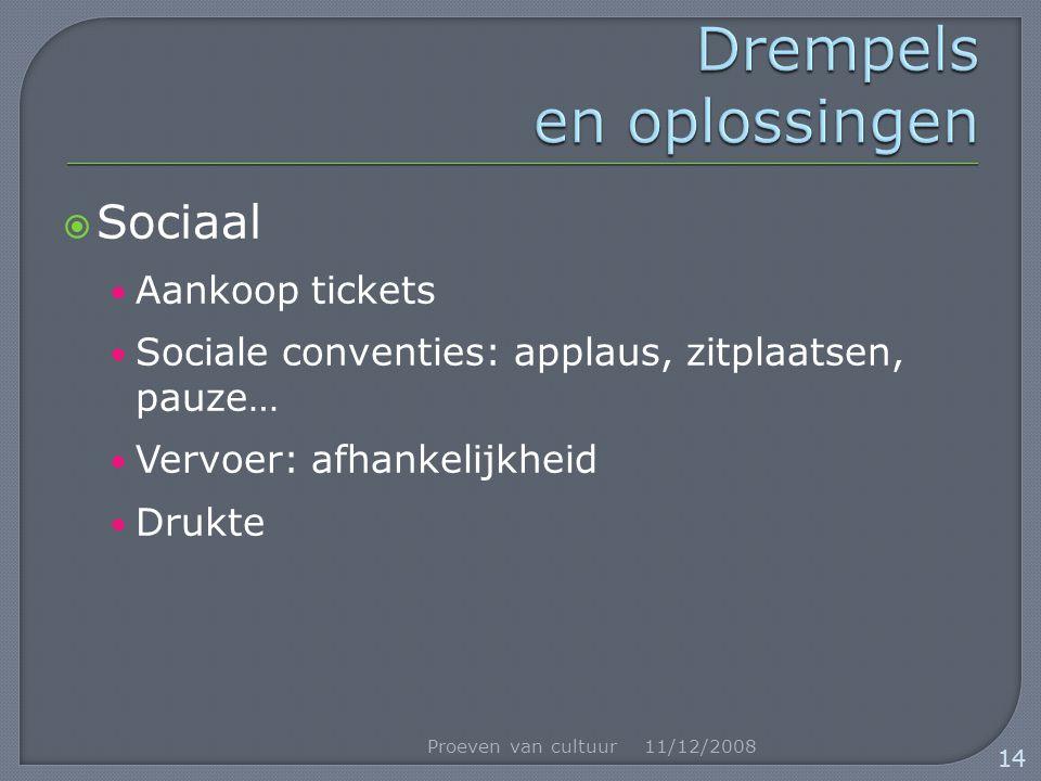  Sociaal Aankoop tickets Sociale conventies: applaus, zitplaatsen, pauze… Vervoer: afhankelijkheid Drukte 11/12/2008Proeven van cultuur 14