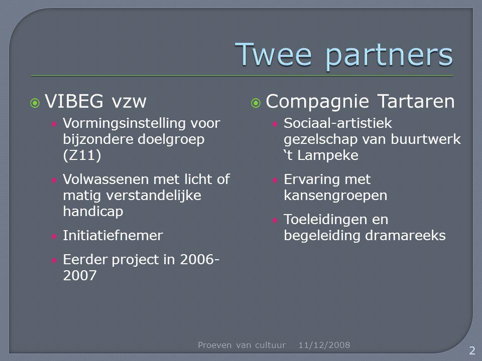  VIBEG vzw Vormingsinstelling voor bijzondere doelgroep (Z11) Volwassenen met licht of matig verstandelijke handicap Initiatiefnemer Eerder project i