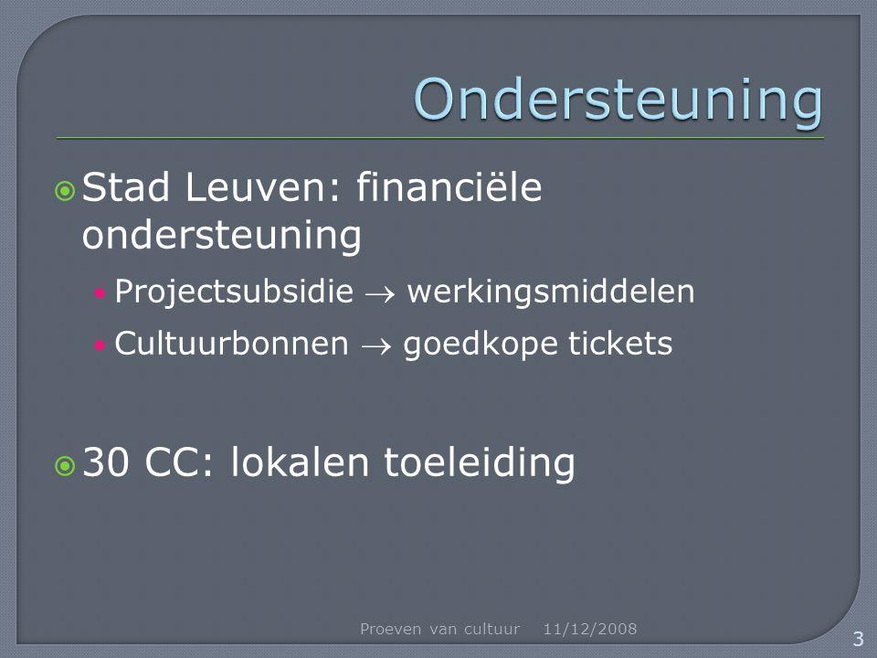  Stad Leuven: financiële ondersteuning Projectsubsidie  werkingsmiddelen Cultuurbonnen  goedkope tickets  30 CC: lokalen toeleiding 11/12/2008Proeven van cultuur 3