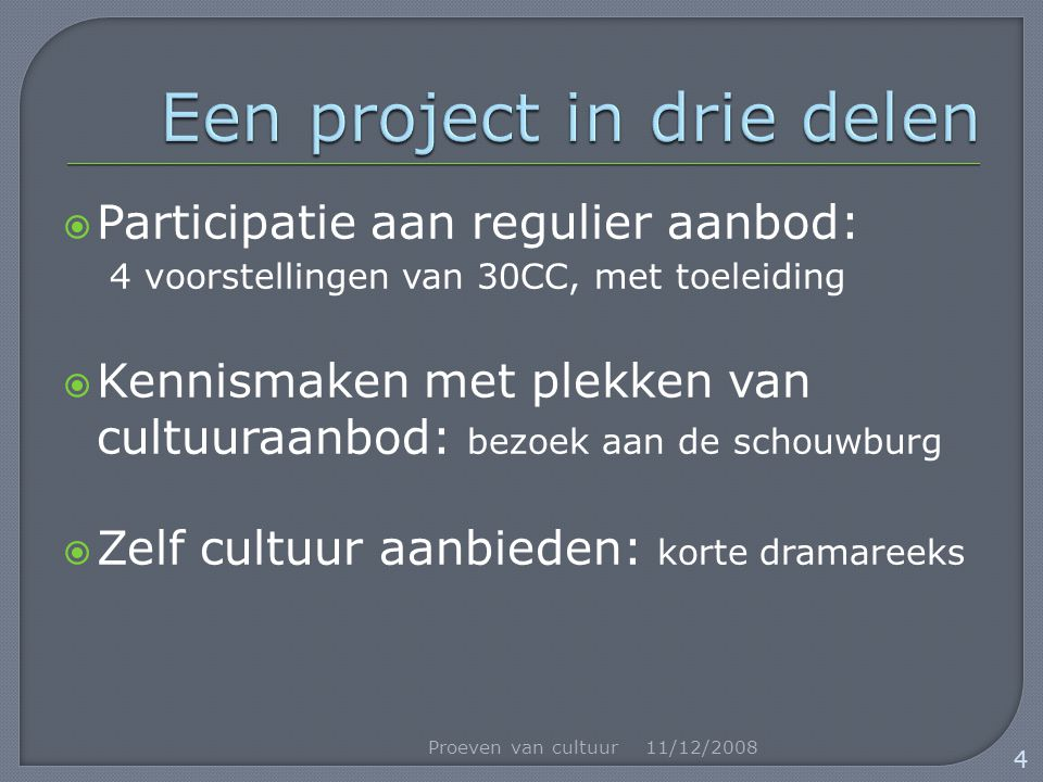  Participatie aan regulier aanbod: 4 voorstellingen van 30CC, met toeleiding  Kennismaken met plekken van cultuuraanbod: bezoek aan de schouwburg  Zelf cultuur aanbieden: korte dramareeks 11/12/2008Proeven van cultuur 4