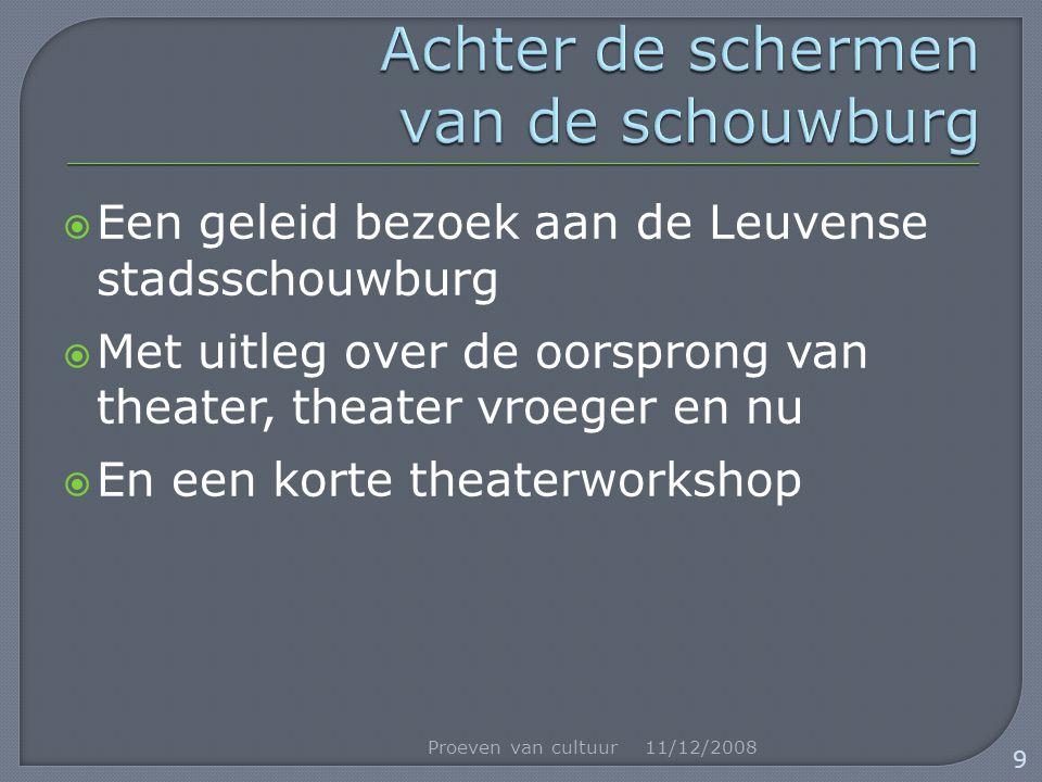  Een geleid bezoek aan de Leuvense stadsschouwburg  Met uitleg over de oorsprong van theater, theater vroeger en nu  En een korte theaterworkshop 11/12/2008Proeven van cultuur 9