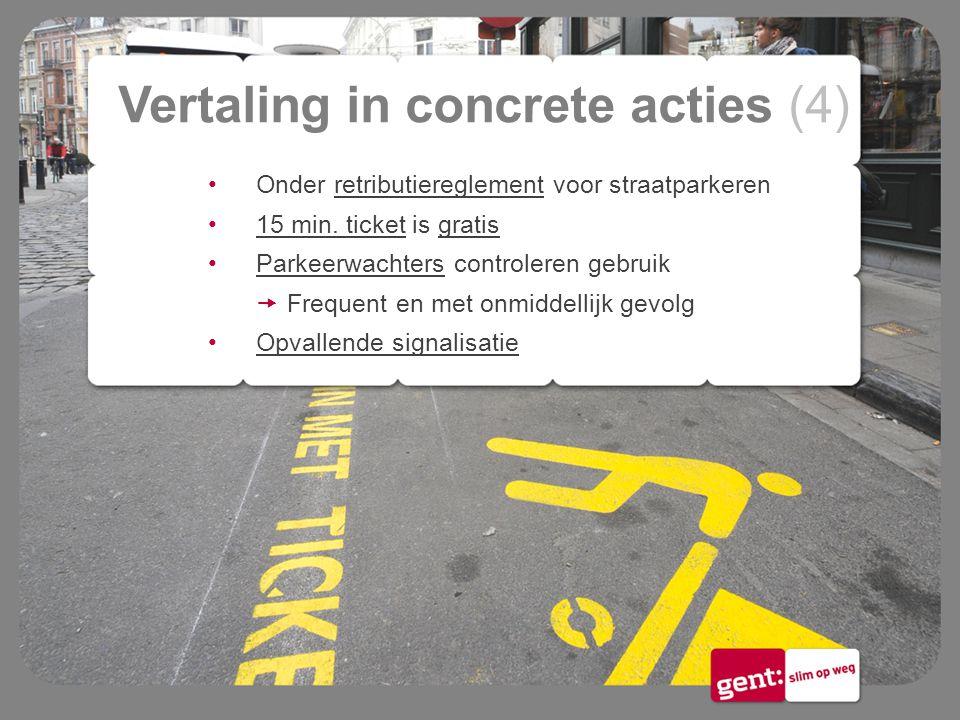Vertaling in concrete acties (4) Onder retributiereglement voor straatparkeren 15 min. ticket is gratis Parkeerwachters controleren gebruik  Frequent