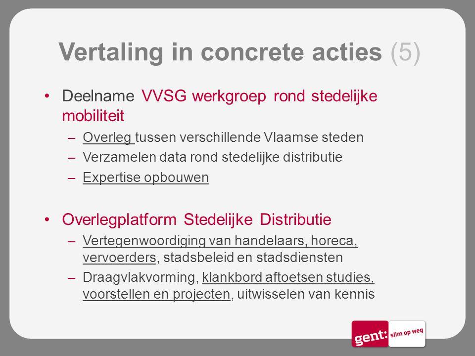 Vertaling in concrete acties (5) Deelname VVSG werkgroep rond stedelijke mobiliteit –Overleg tussen verschillende Vlaamse steden –Verzamelen data rond