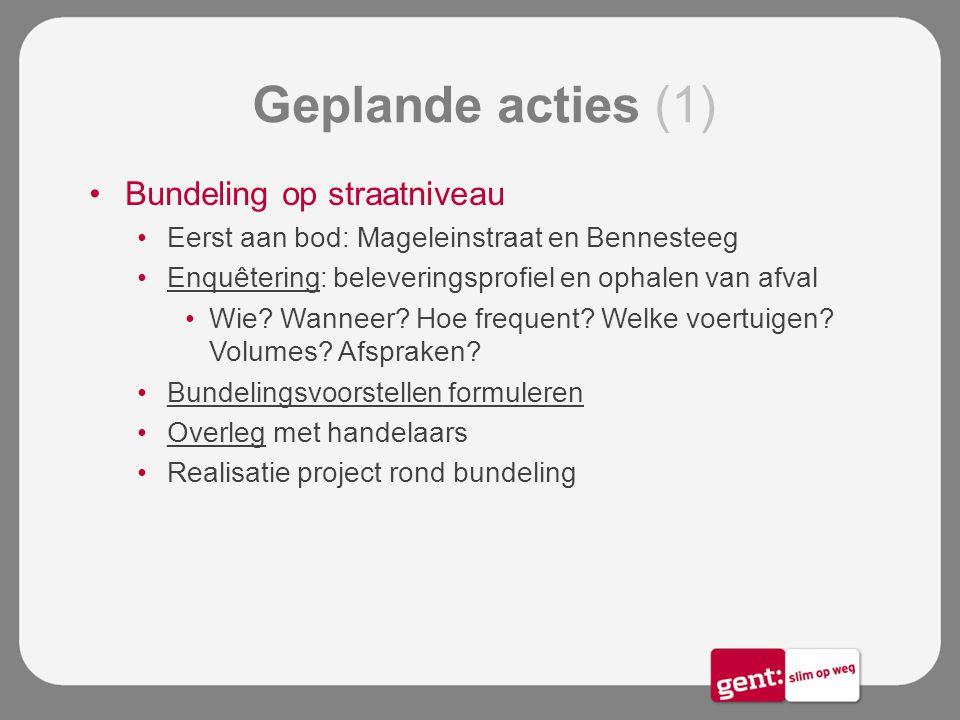 Geplande acties (1) Bundeling op straatniveau Eerst aan bod: Mageleinstraat en Bennesteeg Enquêtering: beleveringsprofiel en ophalen van afval Wie? Wa