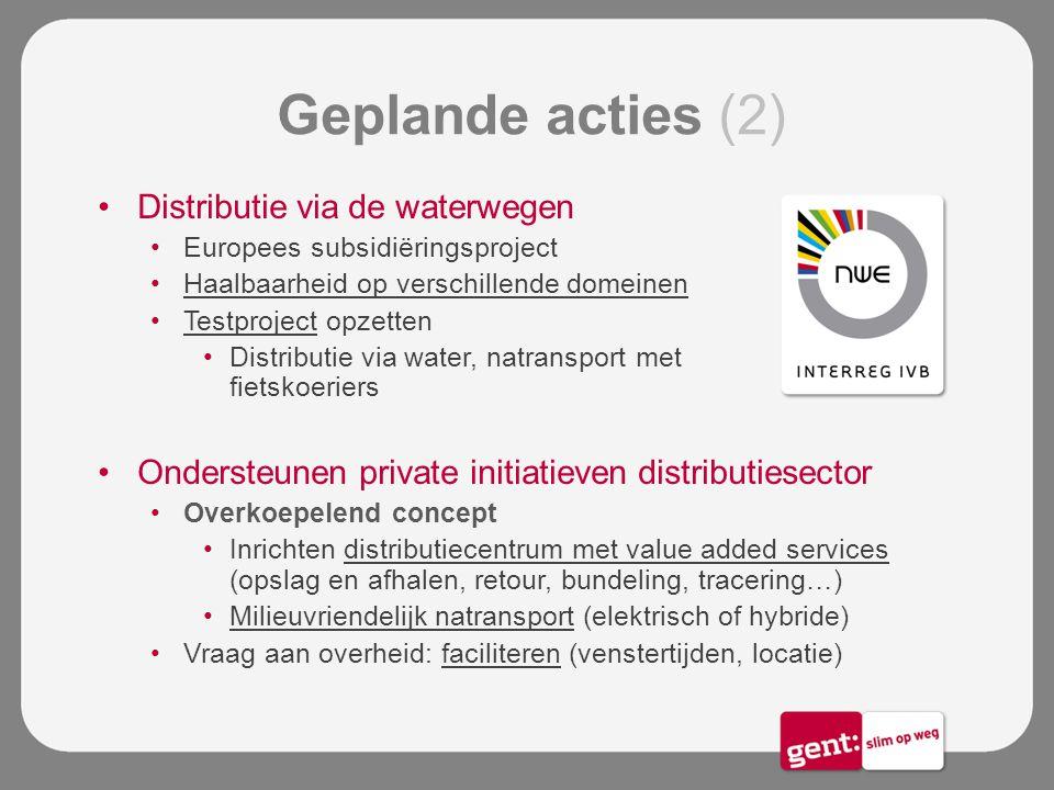 Geplande acties (2) Distributie via de waterwegen Europees subsidiëringsproject Haalbaarheid op verschillende domeinen Testproject opzetten Distributi
