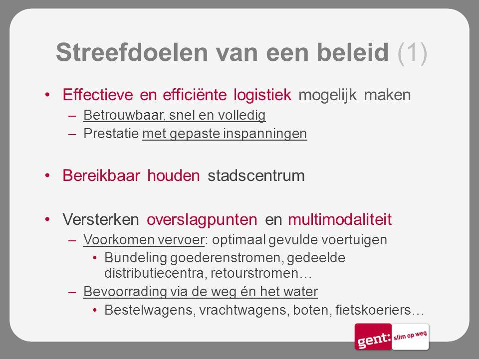 Streefdoelen van een beleid (1) Effectieve en efficiënte logistiek mogelijk maken –Betrouwbaar, snel en volledig –Prestatie met gepaste inspanningen B