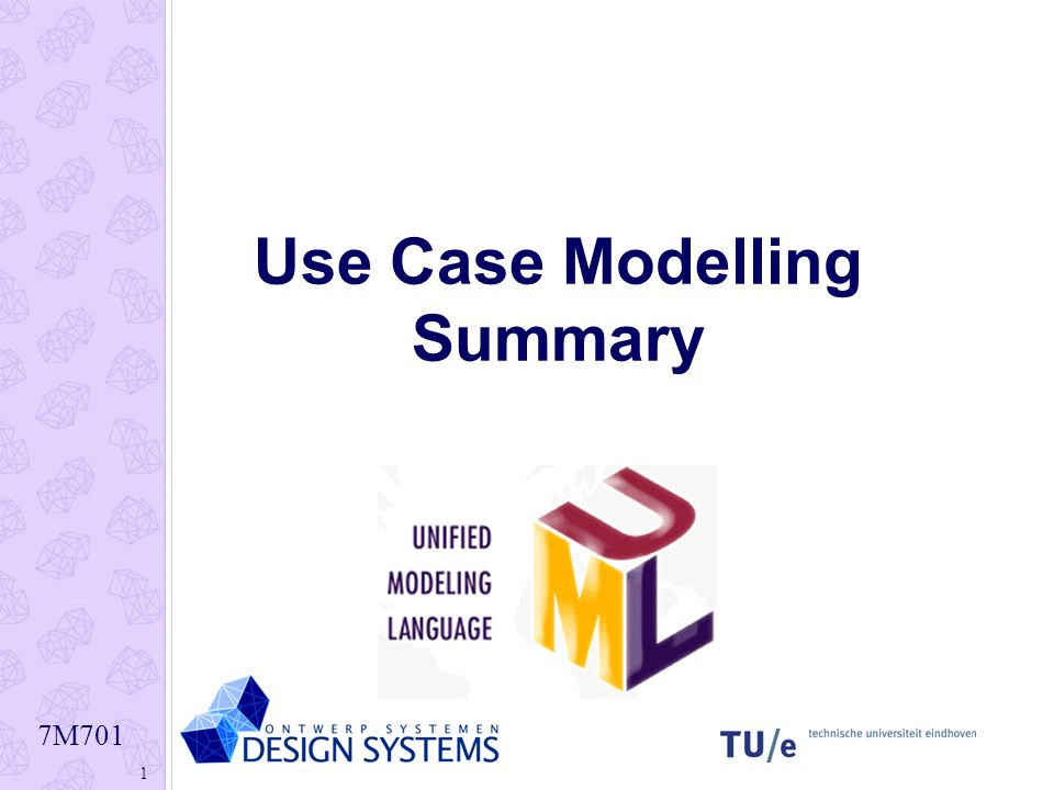 7M701 1 Use Case Modelling Summary
