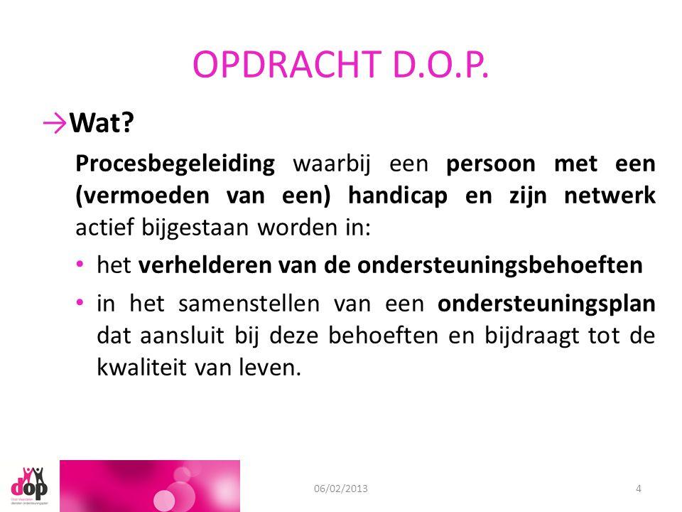 OPDRACHT D.O.P. 11/09/201206/02/20134 →Wat? Procesbegeleiding waarbij een persoon met een (vermoeden van een) handicap en zijn netwerk actief bijgesta