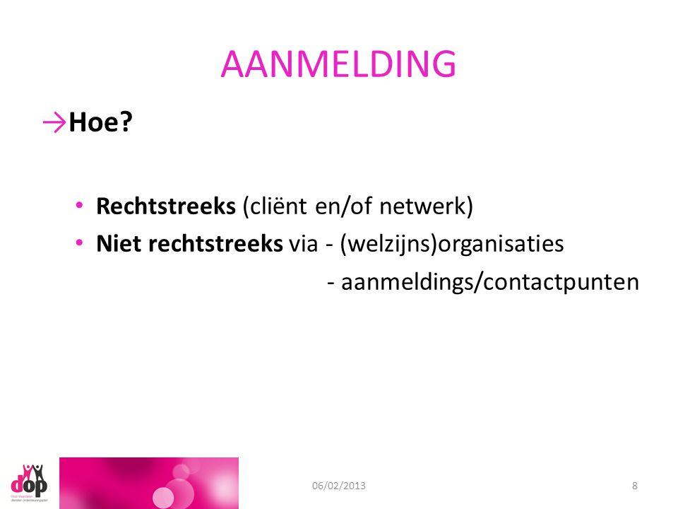 AANMELDING 11/09/201206/02/20138 →Hoe? Rechtstreeks (cliënt en/of netwerk) Niet rechtstreeks via - (welzijns)organisaties - aanmeldings/contactpunten