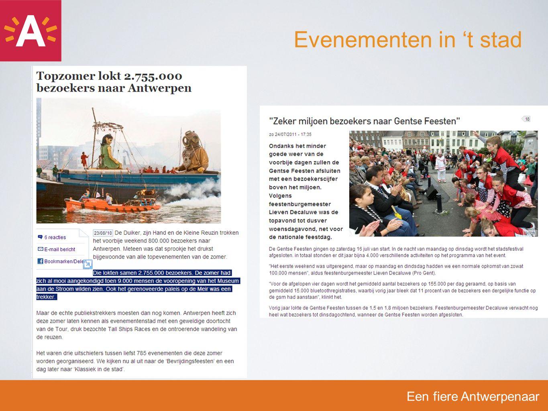 -E-Evenementenaanvraag bevat ook een aantal vragen rond geluid -U-Uitgangspunt = 85 dB(A) -W-Wie hiervan wil afwijken, moet dit aangeven & motiveren -B-Bewust zijn van de bijhorende extra verplichtingen -D-De geluidsnormen dienen door het college van burgemeester en schepenen worden goedgekeurd -T-Toelating = totaalpakket, inclusief normen Een fiere Antwerpenaar Geluidsnormen