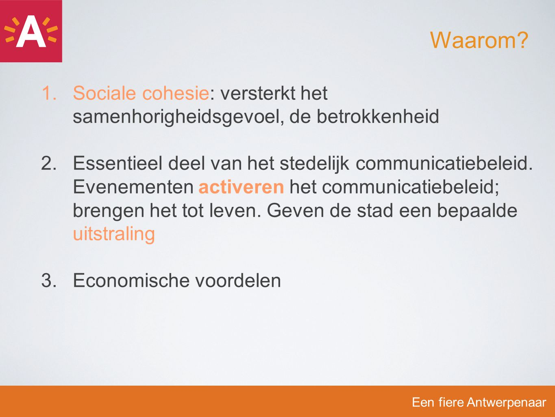 1.Sociale cohesie: versterkt het samenhorigheidsgevoel, de betrokkenheid 2.Essentieel deel van het stedelijk communicatiebeleid. Evenementen activeren