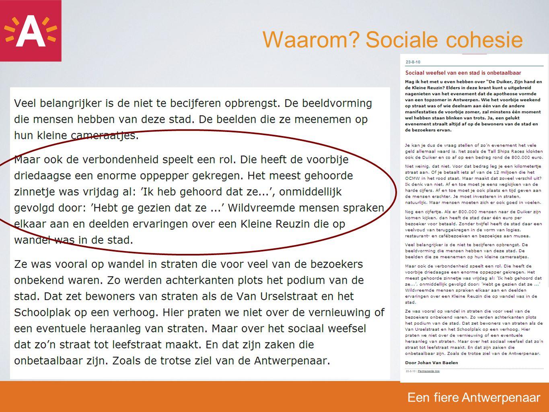 Een fiere Antwerpenaar Waar sociaal weefsel ontbreekt…