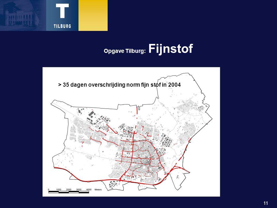 11 Opgave Tilburg: Fijnstof > 35 dagen overschrijding norm fijn stof in 2004