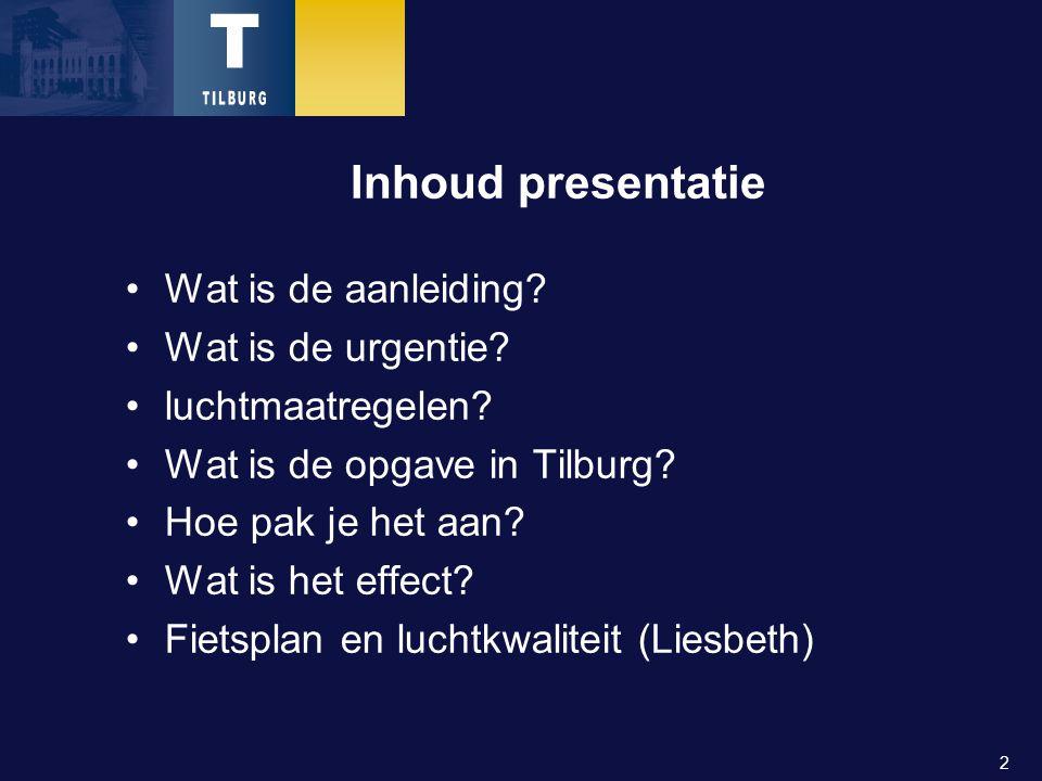 2 Inhoud presentatie Wat is de aanleiding. Wat is de urgentie.