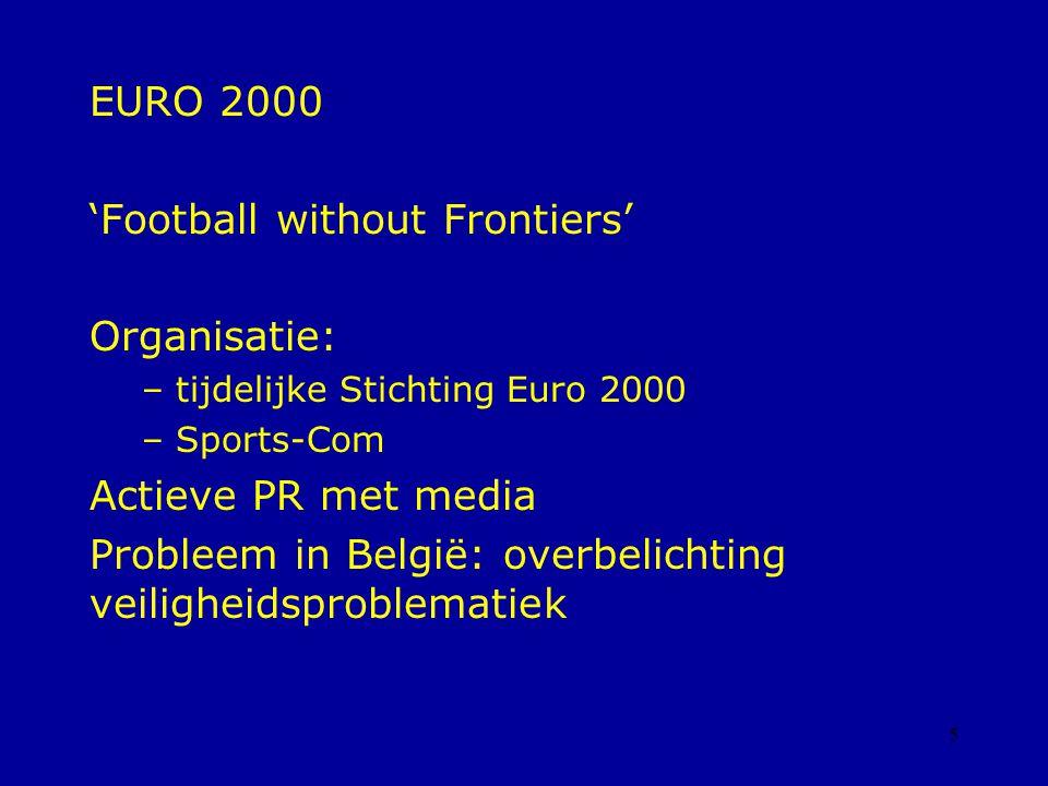 5 EURO 2000 'Football without Frontiers' Organisatie: – tijdelijke Stichting Euro 2000 – Sports-Com Actieve PR met media Probleem in België: overbelichting veiligheidsproblematiek