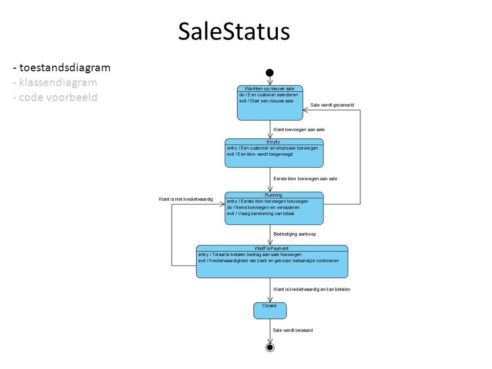 SaleStatus - toestandsdiagram - klassendiagram - code voorbeeld