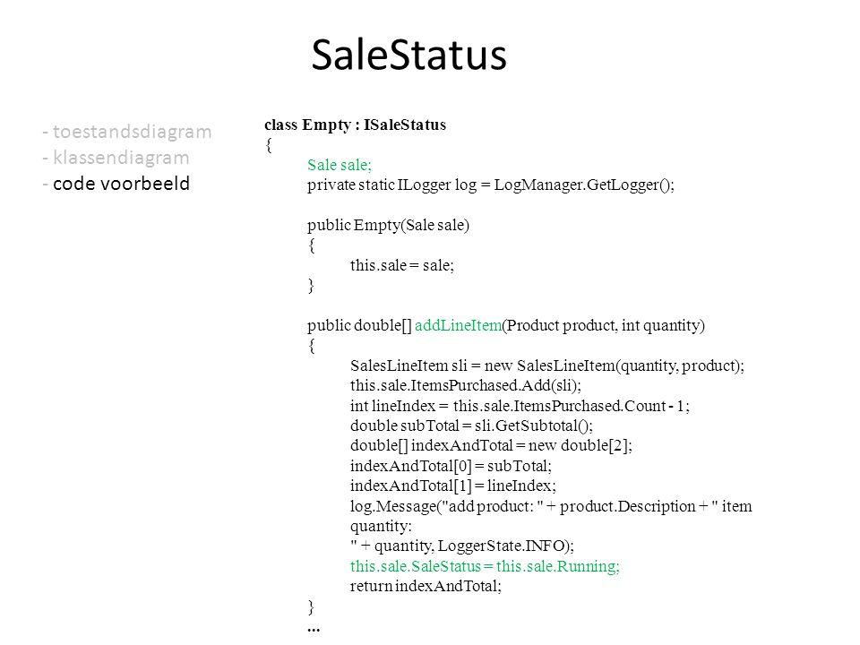 - toestandsdiagram - klassendiagram - code voorbeeld SaleStatus class Empty : ISaleStatus { Sale sale; private static ILogger log = LogManager.GetLogg
