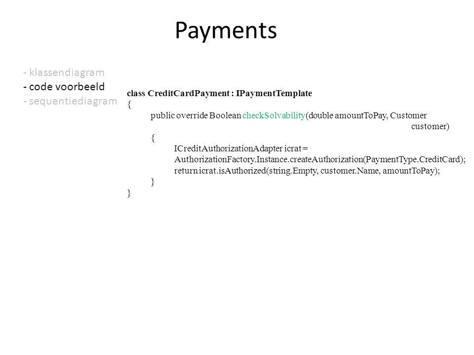 - klassendiagram - code voorbeeld - sequentiediagram Payments class CreditCardPayment : IPaymentTemplate { public override Boolean checkSolvability(do