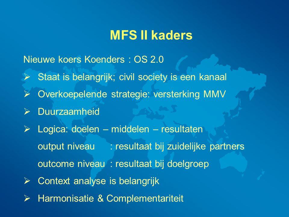 MFS II kaders Nieuwe koers Koenders : OS 2.0  Staat is belangrijk; civil society is een kanaal  Overkoepelende strategie: versterking MMV  Duurzaam