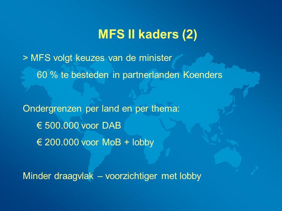 MFS II kaders (2) > MFS volgt keuzes van de minister 60 % te besteden in partnerlanden Koenders Ondergrenzen per land en per thema: € 500.000 voor DAB