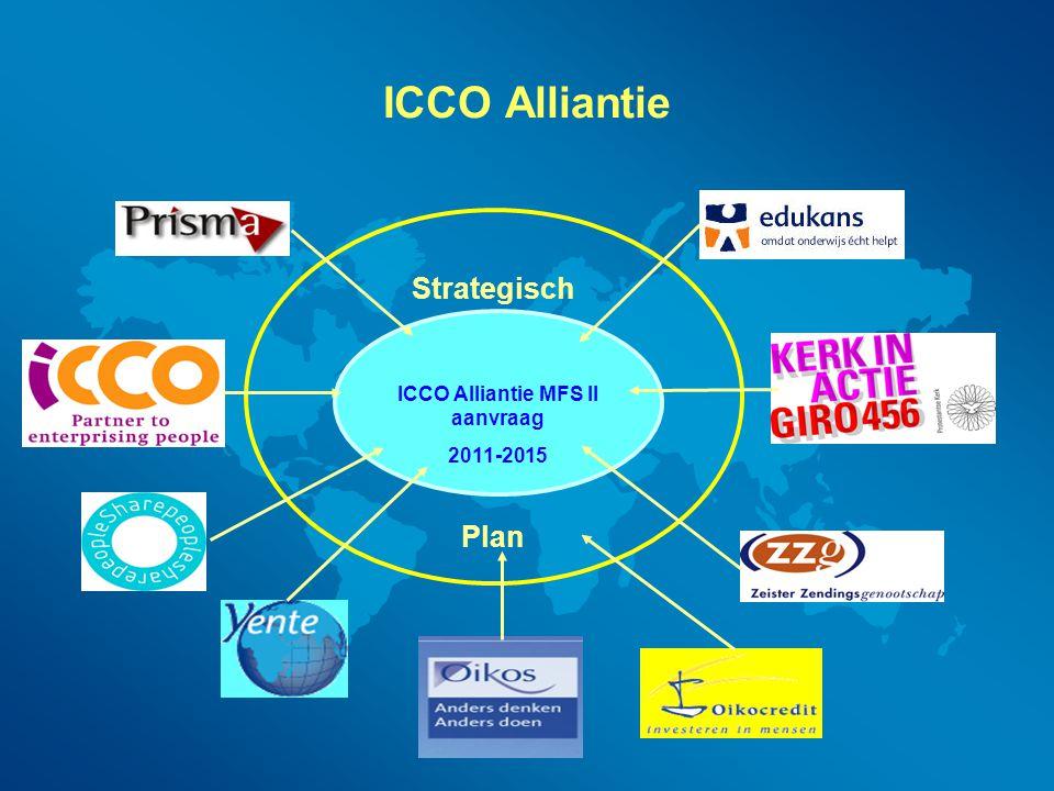 ICCO Alliantie voorstel  49 landen  6 thematische programma's 1) Duurzame Reachtvaardige Economische Ontwikkeling 2) Fair Climate 3) Conflict Transformatie & Democratisering 4) Basic Onderwijs 5) Basic Gezondheidszorg & HIV/AIDS 6) Voedsel zekerheid  Belangrijke strategie = samenwerking binnen sectoren bevorderen  Daarnaast: ICT in C4C alliantie Water in WASH alliantie