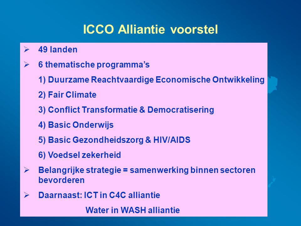 ICCO Alliantie voorstel  49 landen  6 thematische programma's 1) Duurzame Reachtvaardige Economische Ontwikkeling 2) Fair Climate 3) Conflict Transf