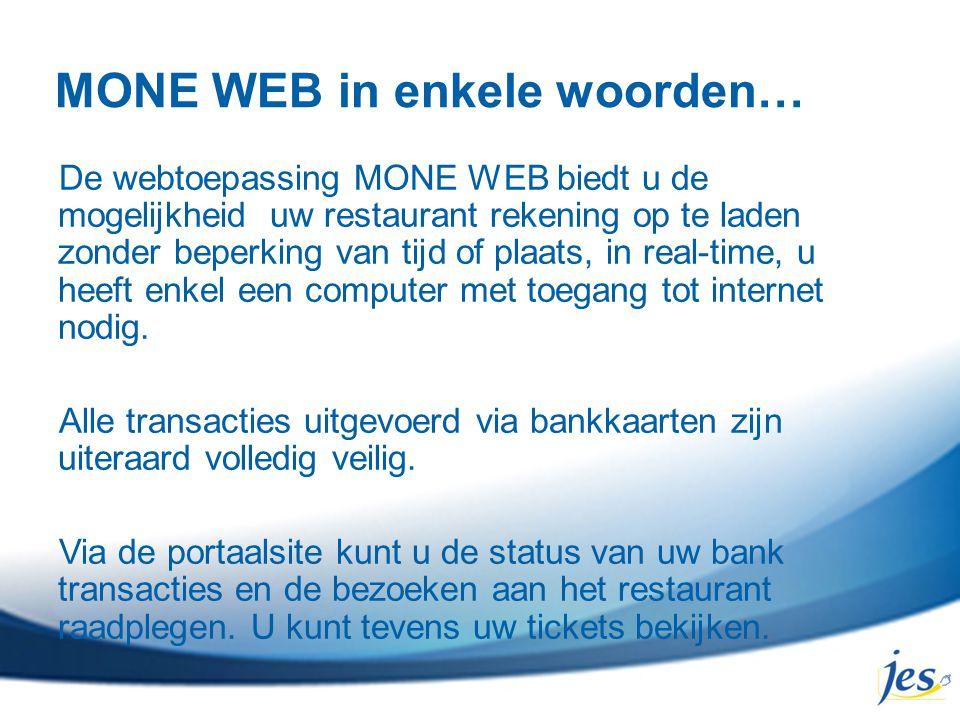 MONE WEB in enkele woorden… De webtoepassing MONE WEB biedt u de mogelijkheid uw restaurant rekening op te laden zonder beperking van tijd of plaats,