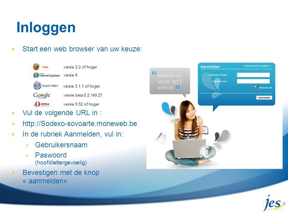Inloggen  Start een web browser van uw keuze:  Vul de volgende URL in :  http://Sodexo-sovoarte.moneweb.be  In de rubriek Aanmelden, vul in: Gebru