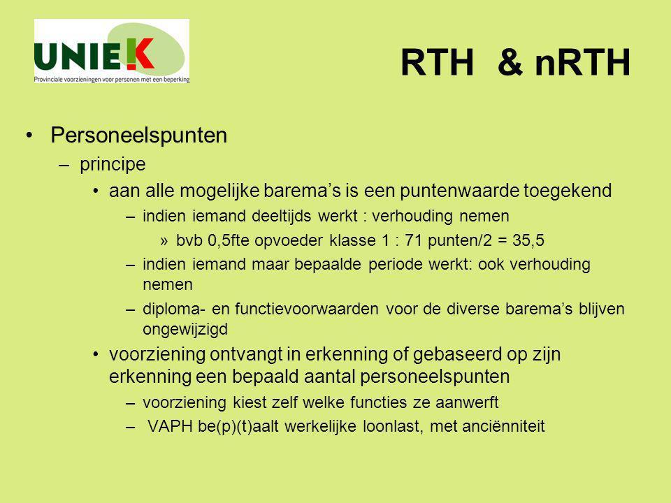 RTH & nRTH Personeelspunten –principe aan alle mogelijke barema's is een puntenwaarde toegekend –indien iemand deeltijds werkt : verhouding nemen »bvb