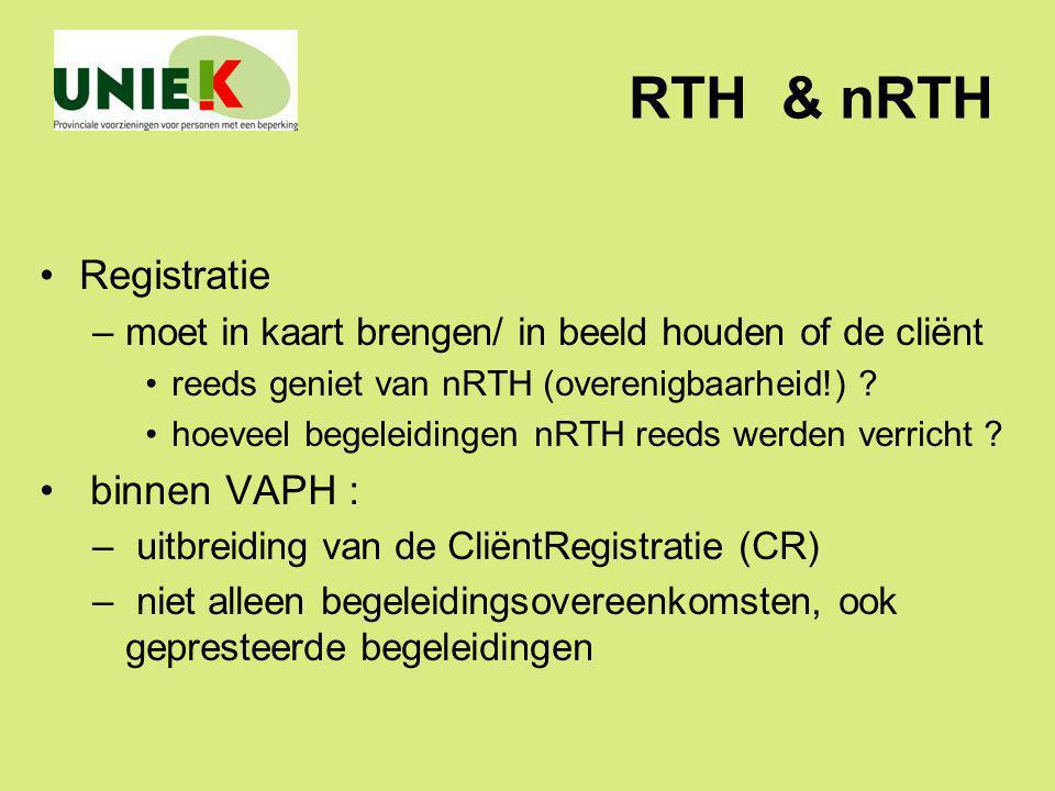 RTH & nRTH Registratie –moet in kaart brengen/ in beeld houden of de cliënt reeds geniet van nRTH (overenigbaarheid!) ? hoeveel begeleidingen nRTH ree