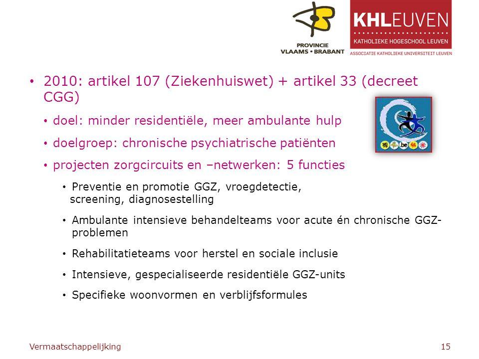 2010: artikel 107 (Ziekenhuiswet) + artikel 33 (decreet CGG) doel: minder residentiële, meer ambulante hulp doelgroep: chronische psychiatrische patiënten projecten zorgcircuits en –netwerken: 5 functies Preventie en promotie GGZ, vroegdetectie, screening, diagnosestelling Ambulante intensieve behandelteams voor acute én chronische GGZ- problemen Rehabilitatieteams voor herstel en sociale inclusie Intensieve, gespecialiseerde residentiële GGZ-units Specifieke woonvormen en verblijfsformules Vermaatschappelijking15